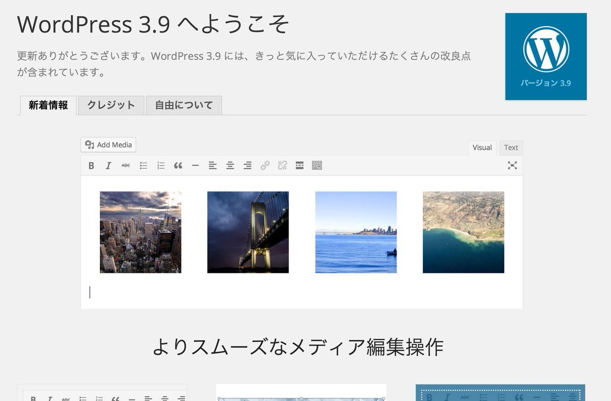 WordPress 3.9追加機能一覧